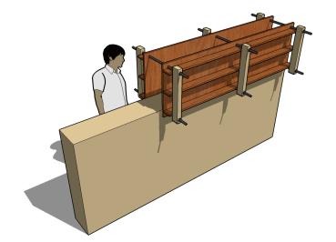 Mobile framework to build walls.